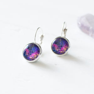 Purple Triangle Galaxy Earrings