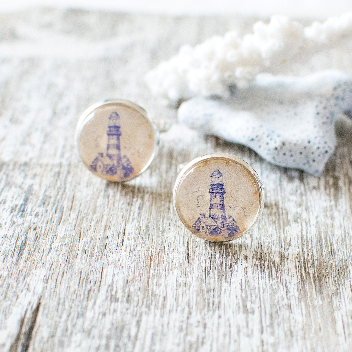 Blue Lighthouse Cufflinks