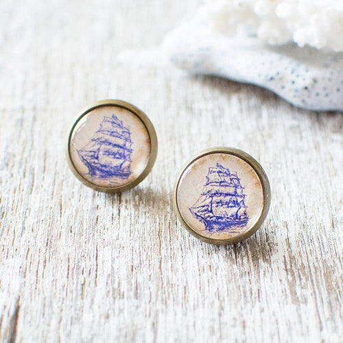 Blue Sailing Ship Earrings