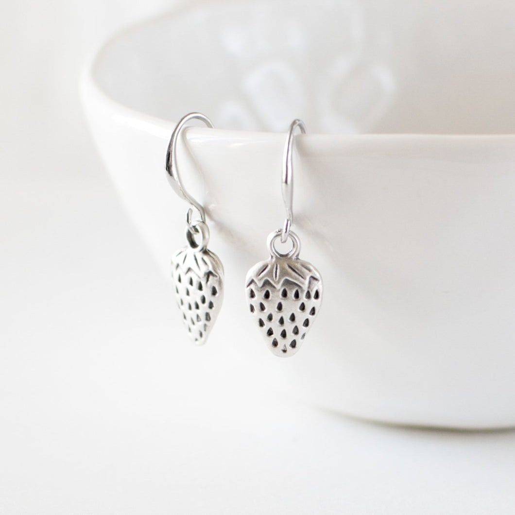 Antique Silver Strawberry Earrings