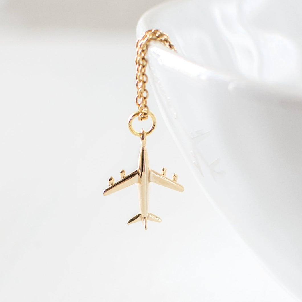 Gold Plated Airplane Necklace