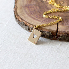 Gold Ace of Hearts Charm Necklace