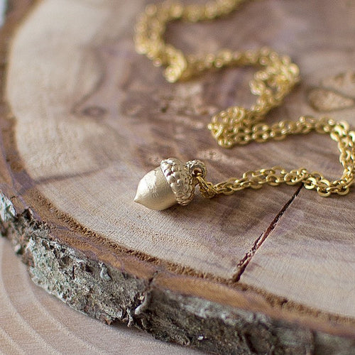Tiny Acorn Charm Necklace