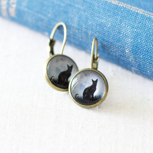 Black Cat Silhouette Earrings