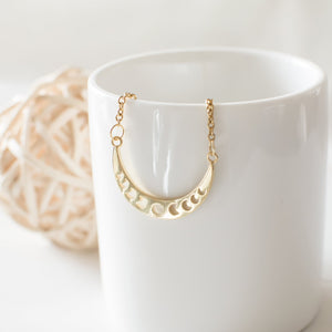 Gold Plated Crescent Moon Phases Necklace