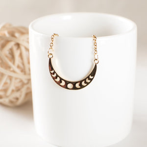 Gold Crescent Moon Phases Necklace