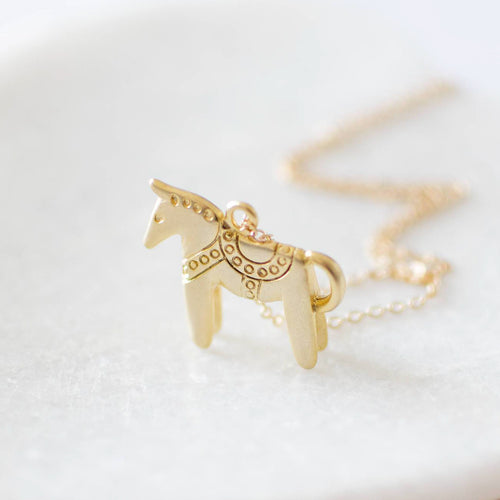 Dala Horse Charm Necklace