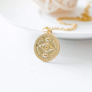 Evil Eye Gold Coin Necklace
