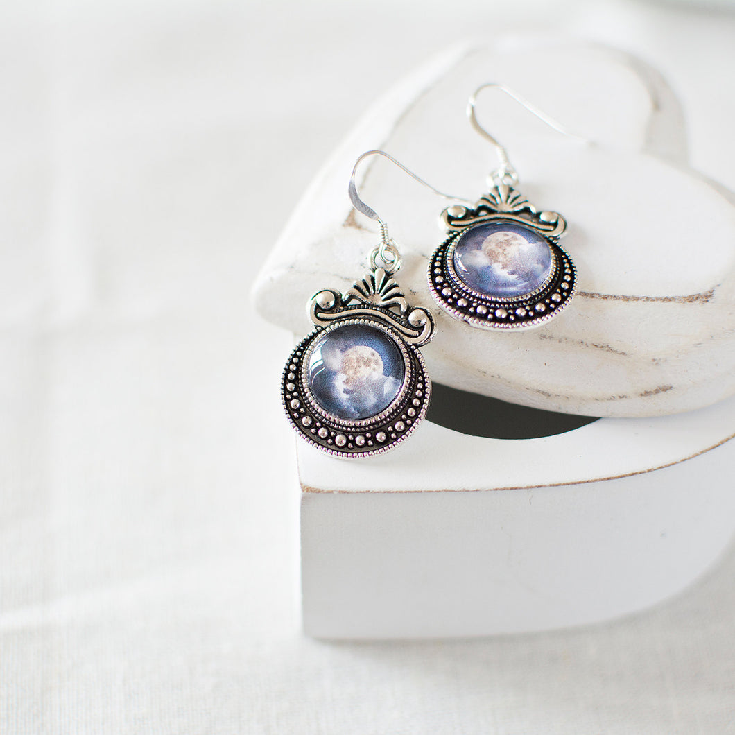 Full Moon in the Clouds Earrings