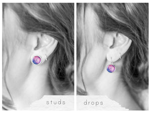 Pink and Purple Space Earrings