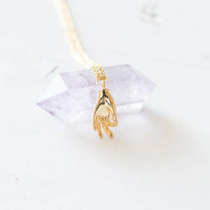 Gold Hand Charm Necklace