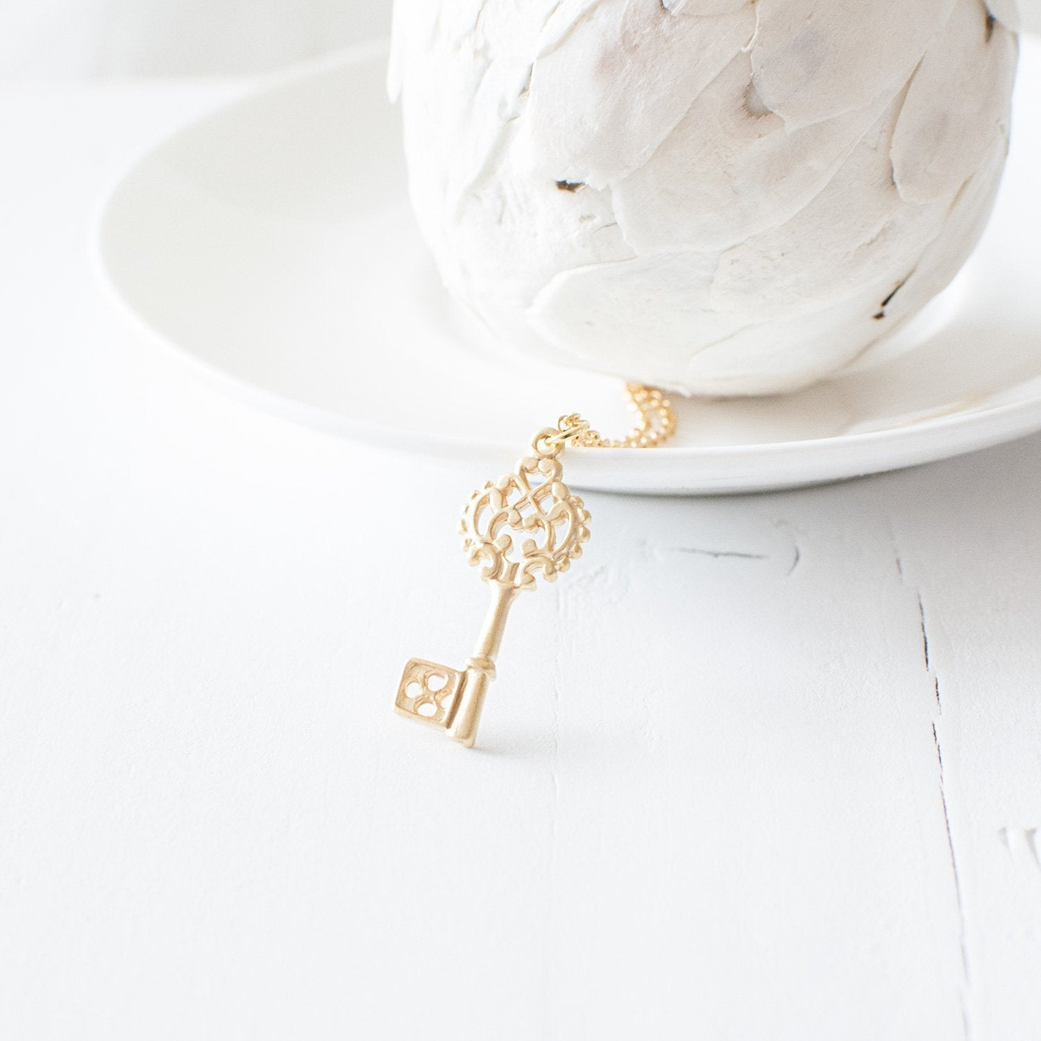 Gold Key Pendant Necklace