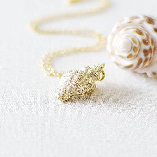 Gold Sea Shell Charm Necklace
