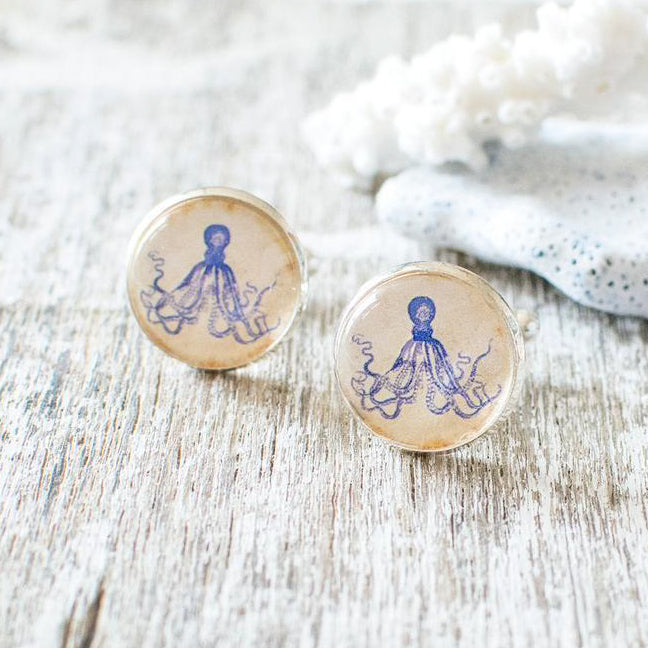 Blue Octopus Cufflinks