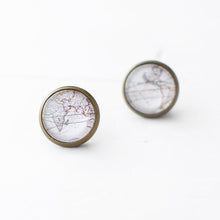 Antique World Map Earrings