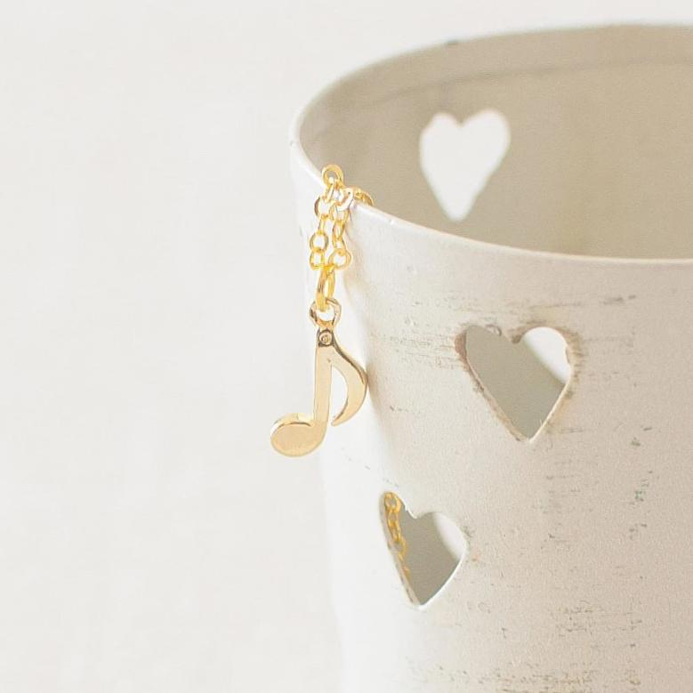 Gold Music Note Charm Necklace