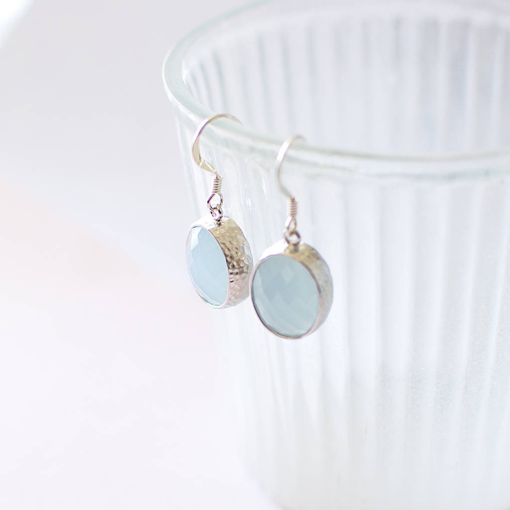 Powder Blue Faceted Glass Earrings