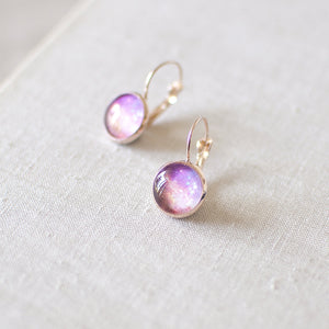 Peach and Purple Galaxy Earrings