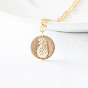 Gold Pineapple Coin Necklace