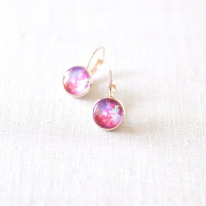 Pink and Magenta Galaxy Earrings