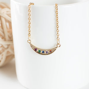 Cubic Zirconia Rainbow Crescent Moon Necklace
