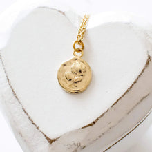 Gold Rose Coin Necklace