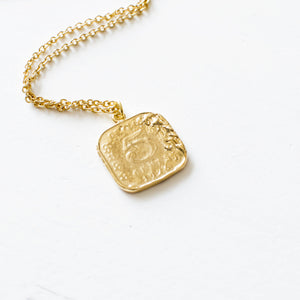 Gold Square Coin Necklace