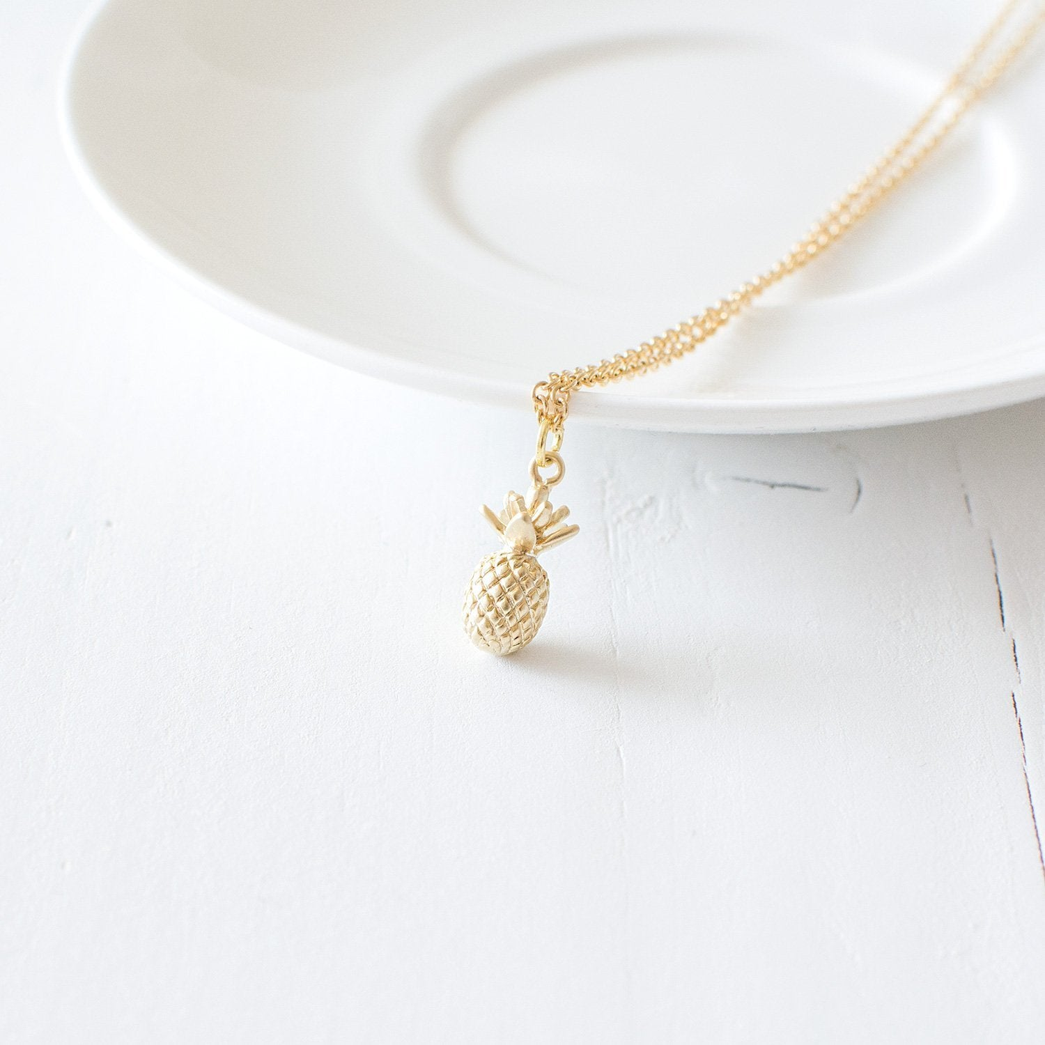 Gold Pineapple Pendant Necklace