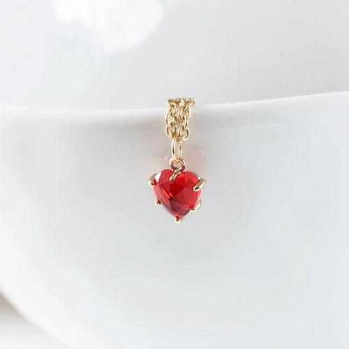 Tiny Red Heart Cubic Zirconia Necklace