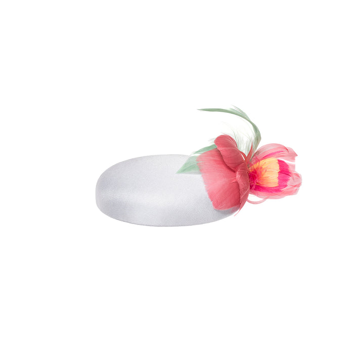 Mini Pillbox with Feather Flower, Pink - Bijou Van Ness