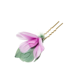 Feather Flower Hairpin, Pink - Bijou Van Ness