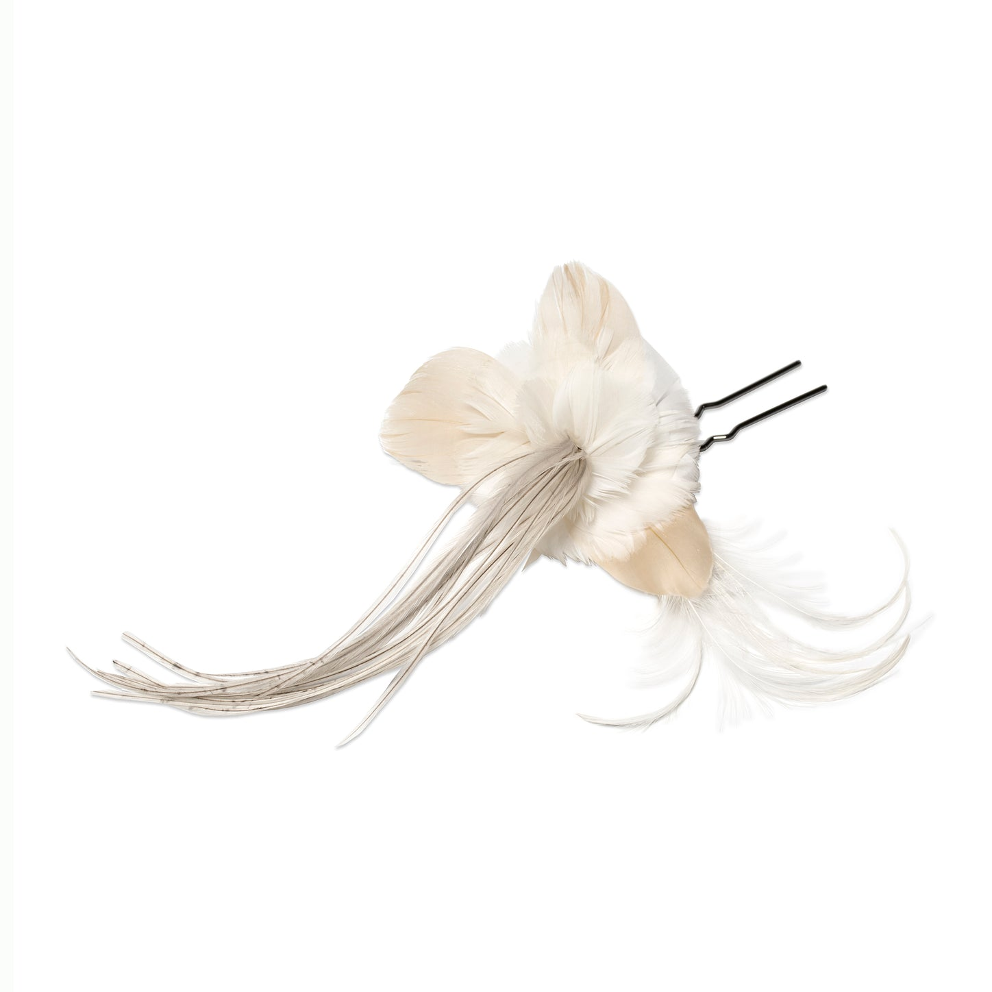 Feather Flower Hairpin, Ivory - Bijou Van Ness