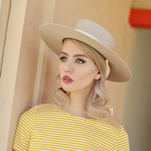 allison harvard wearing bolero beige felt hat with velvet ribbon ties