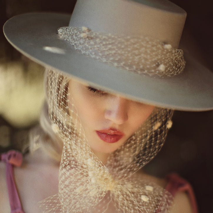 allison harvard wearing bolero beige felt hat with chenille dot veil