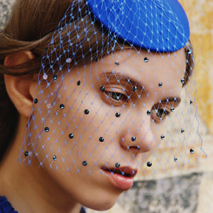 Blue Fascinator with Swarovski Veil - Bijou Van Ness