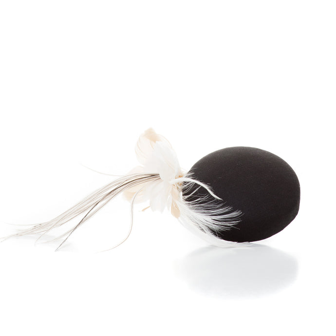 Mini Pillbox with Feather Flower, Black