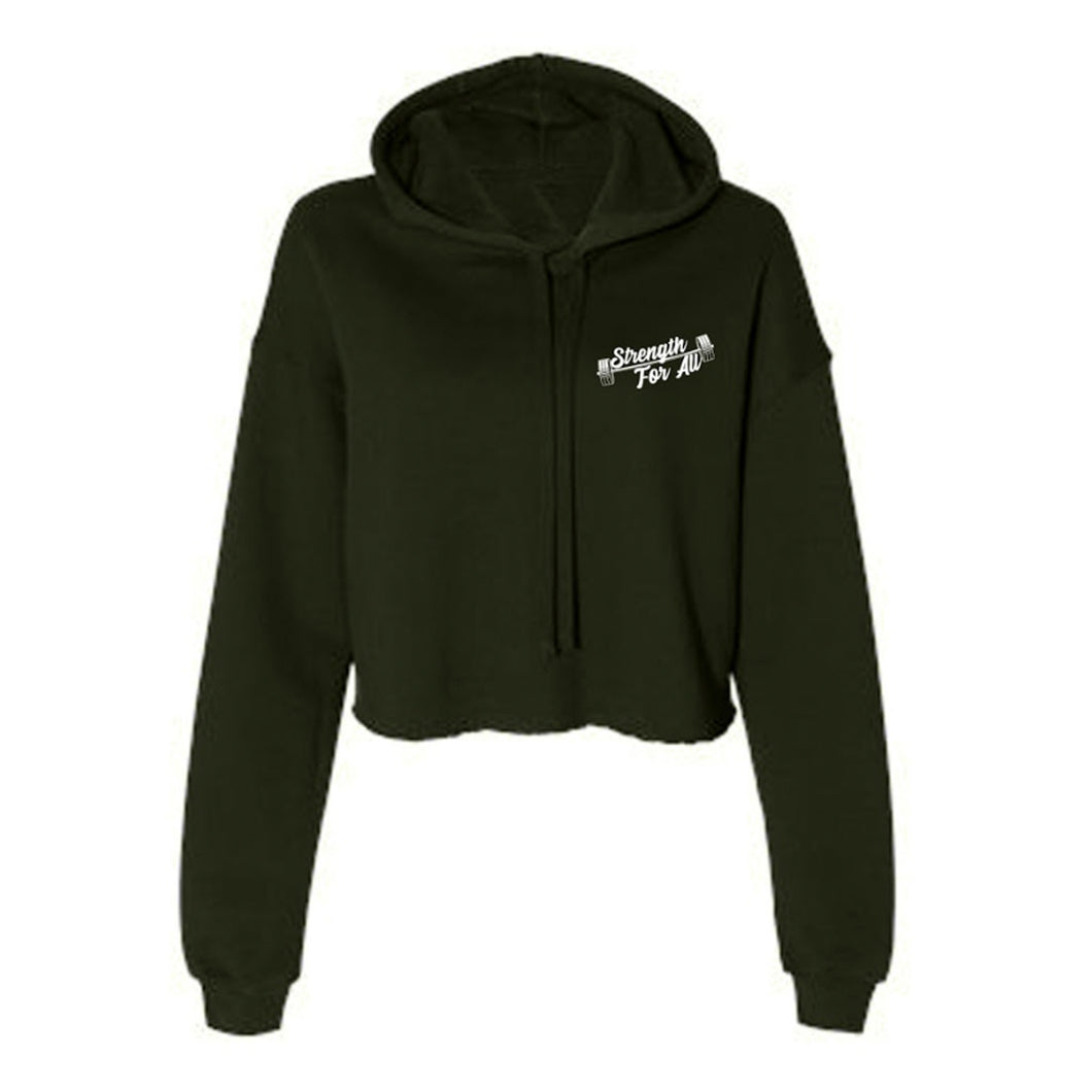 Power For All Crop Fleece Hoodie in Olive Green