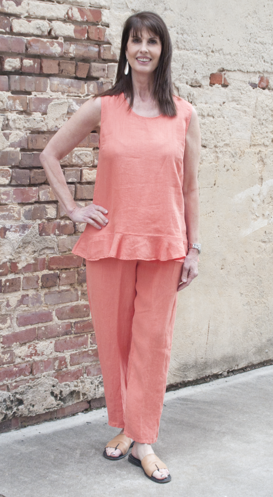 Match Point Ruffle Tank in Coral