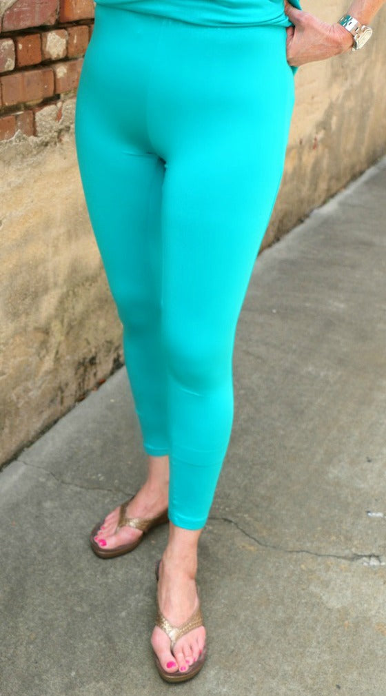 Comfy USA Long Legging in Spa Green