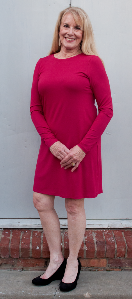Eileen Fisher Crew Neck Dress in Viscose Jersey in Red Roses