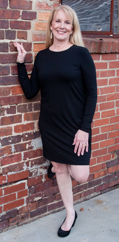 2e80aefb06b7b Eileen Fisher Crew Neck Dress in Viscose Jersey in Black. Images   1   2 ...
