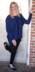 EILEEN FISHER BALLET NECK BOX TOP IN MERINO JERSEY IN SAPPHIRE