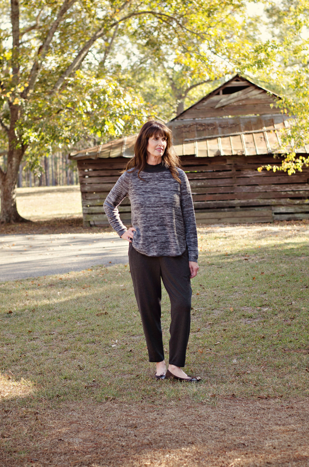 Eileen Fisher Organic Linen & Cotton Top In Charcoal