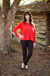 Eileen Fisher Fine Merino Stitch Bateau Neck Top In Poppy