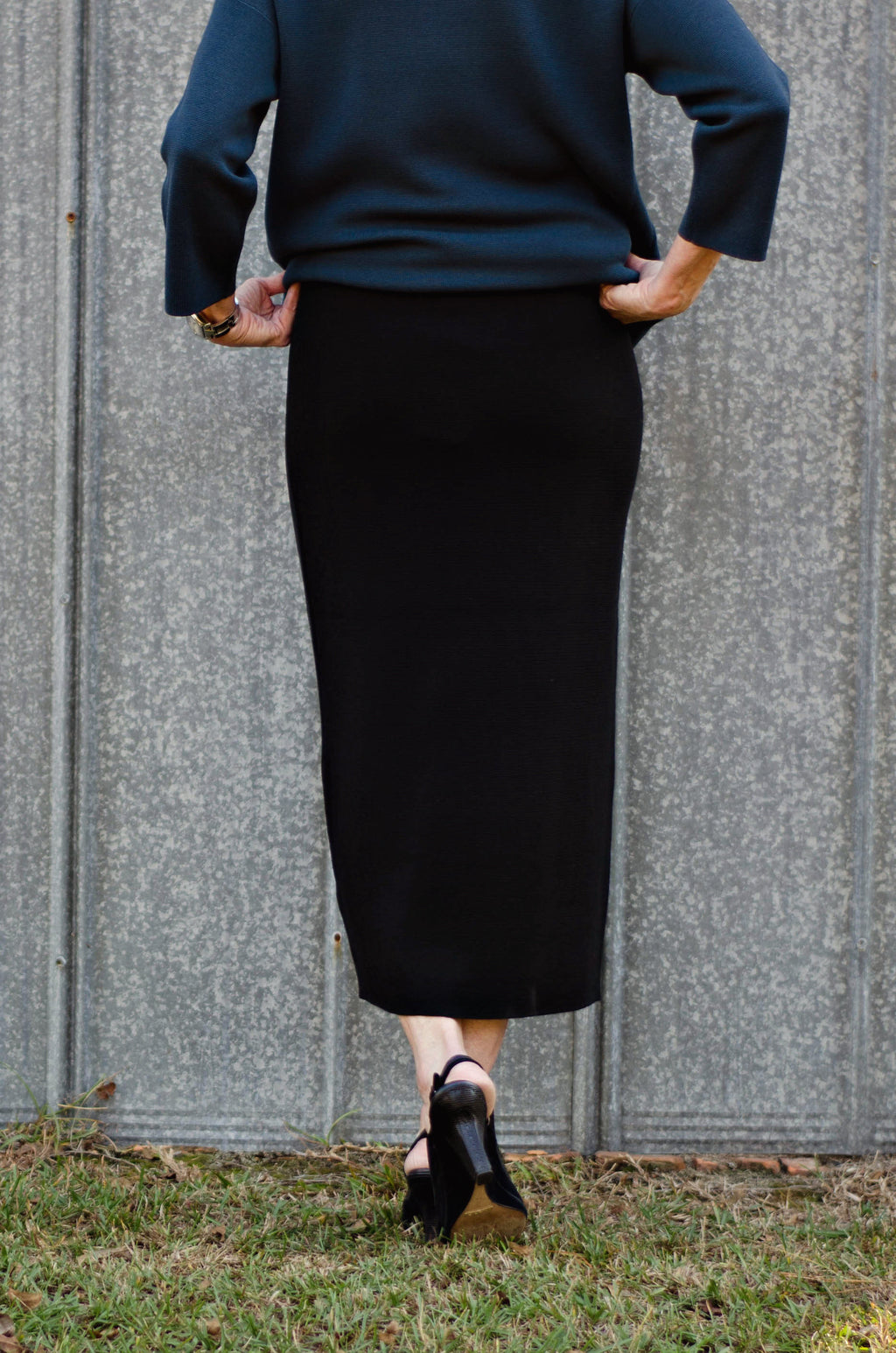 b7c90fac2b ... Eileen Fisher Silk & Cotton Interlock Knit Pencil Calf Knit Skirt In  Black