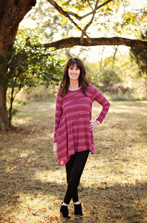 Comfy USA Austin Tunic In SW Cranberry