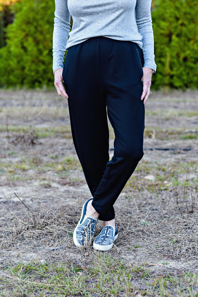 189220fedb35ae Eileen Fisher Tencel Stretch Terry Slouchy Tapered Pant In Black ...