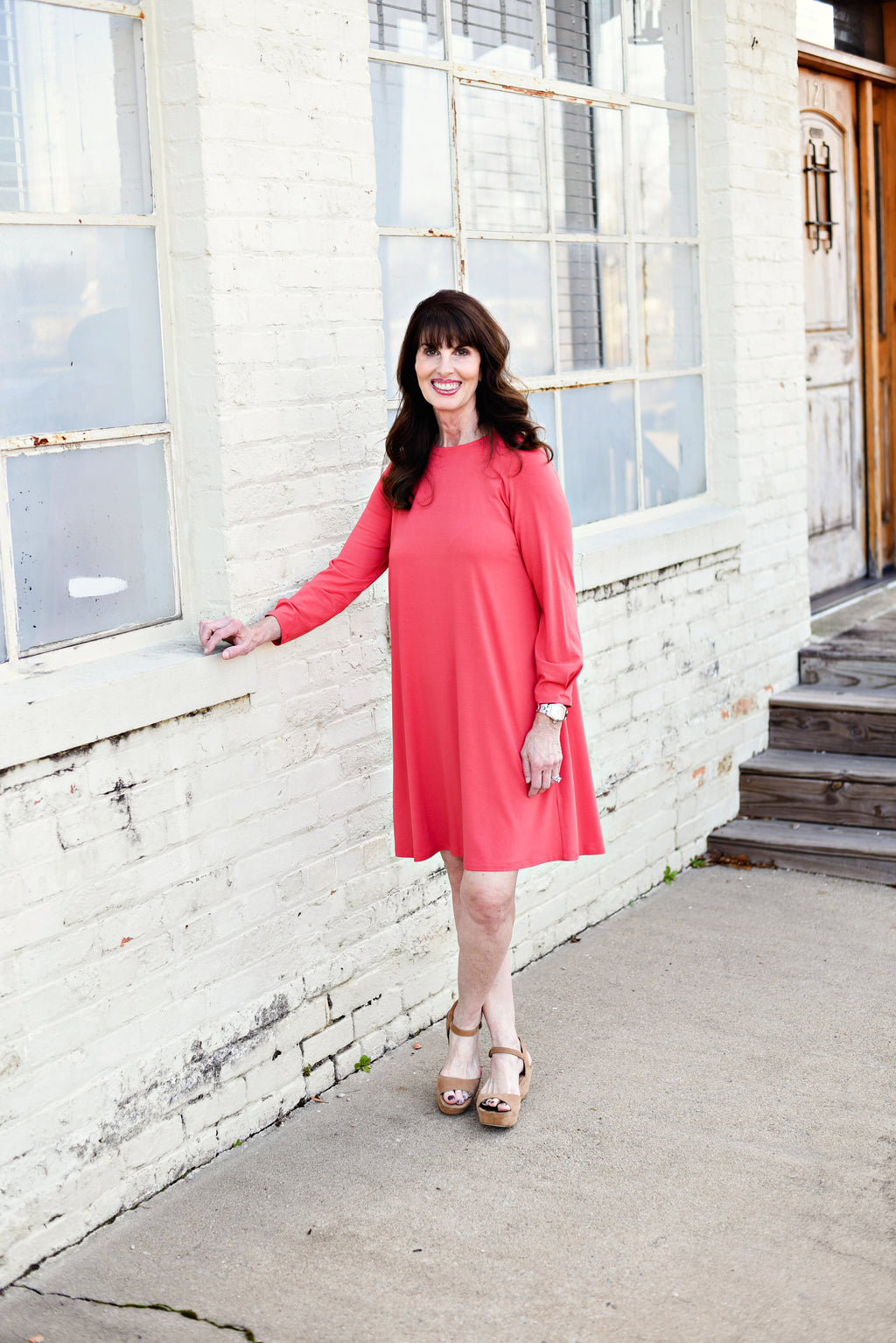 Eileen Fisher Round Neck Dress In Mimosa