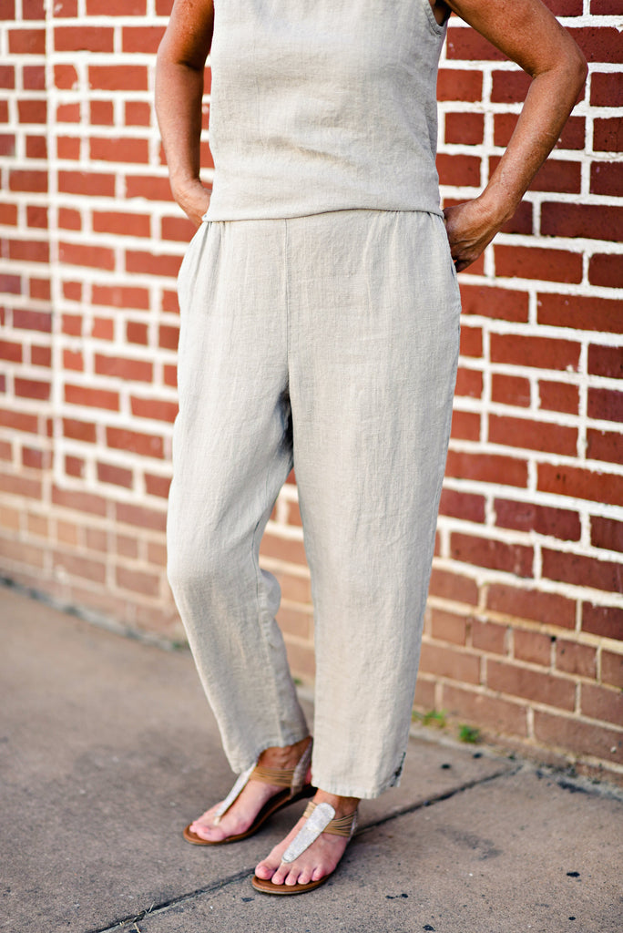 Flax Pocketed Ankle Pant in Natural