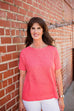 Eileen Fisher Organic Linen Cotton Slub Bateau Neck Box Top In Pink Grapefruit